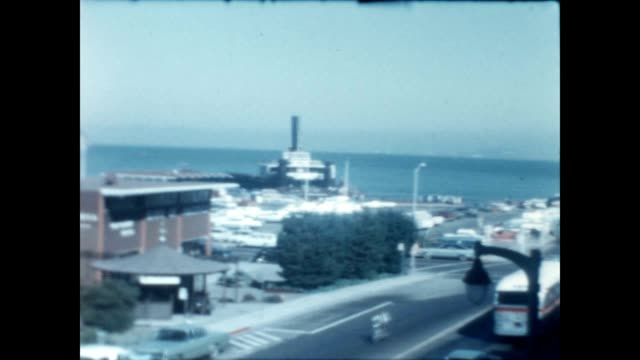 home movies of a trip to sausalito in the bay area during the late 1960's quick shot at the end of a sausalito police cruiser - bank of america stock videos & royalty-free footage