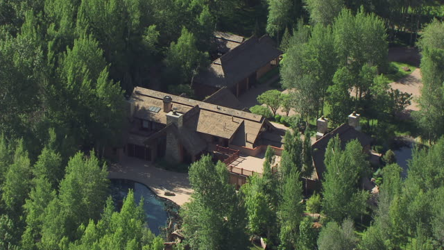 CU AERIAL ZO Home of Bruce Willis and surrounding landscape in Sun Valley Area / Idaho, United States