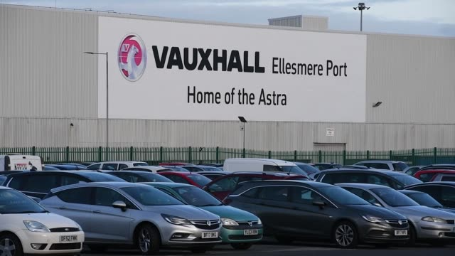 A 'Home of the Astra' sign sits on the Vauxhall automobile production line plant and distribution center in Ellesmere Port UK on Monday Nov 6...