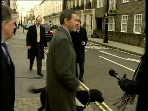 home office letters / blunkett row over fast-tracked visa application; itn england: london: ext david blunkett mp out of house and away along road... - david blunkett stock videos & royalty-free footage