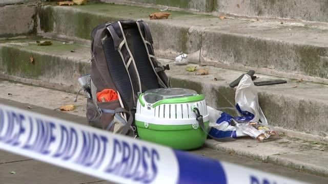home office locked down after man stabbed nearby england london westminster ext police car police tape cordon and reporters outside home office... - rucksack stock videos & royalty-free footage