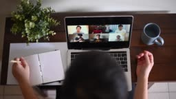 Home Office Video Conference with casual clothing using laptop