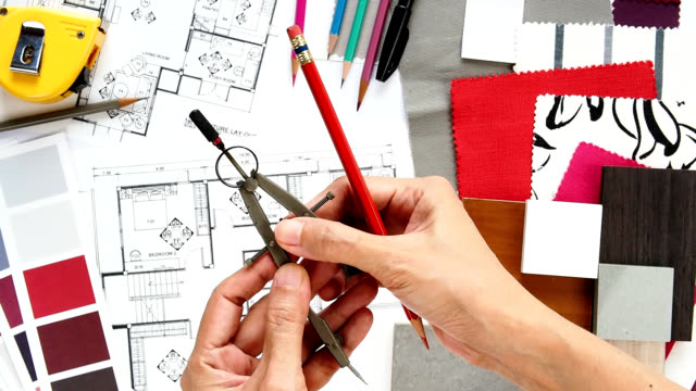 home renovation & decoration concept - pair of compasses stock videos & royalty-free footage