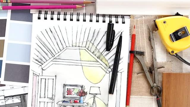 ホームの改装コンセプト&装飾 - 生地サンプル点の映像素材/bロール
