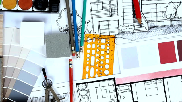 home renovation & decoration concept - drawing compass stock videos & royalty-free footage