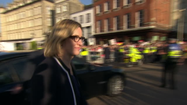 home secretary amber rudd arrives in cambridge ahead of the bbc political debate leading up to the uk election on june 8th - home secretary stock videos & royalty-free footage