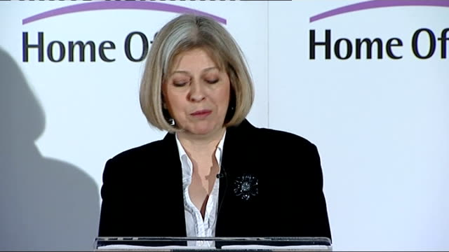 home secretary announces pay freeze for police officers; england: int theresa may mp speech sot - in an organisation like the police where... - three quarter length stock videos & royalty-free footage