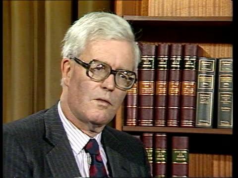 home secretary douglas hurd on crime figures; england: london: home office cms douglas hurd intvw sof - douglas hurd stock-videos und b-roll-filmmaterial