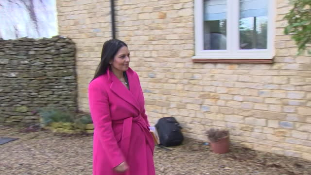 home secretary priti patel arriving at the home of tim dunn to speak about the death of his son harry dunn who was killed in road crash caused by the... - home secretary stock videos & royalty-free footage
