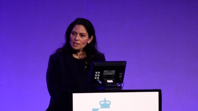 home secretary priti patel speaks at the national police chiefs' council and association of police and crime commissioners joint summit the home... - home secretary stock videos & royalty-free footage