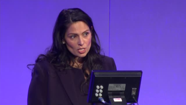home secretary priti patel's speech to national police chiefs' council england london westminster qeii centre int priti patel mp speech sot we're... - crime and murder stock-videos und b-roll-filmmaterial
