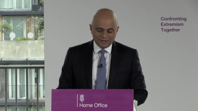 """home secretary sajid javid makes a speech in central london on confronting extremism as he called on public figures to """"moderate their language"""" to... - publication stock videos & royalty-free footage"""