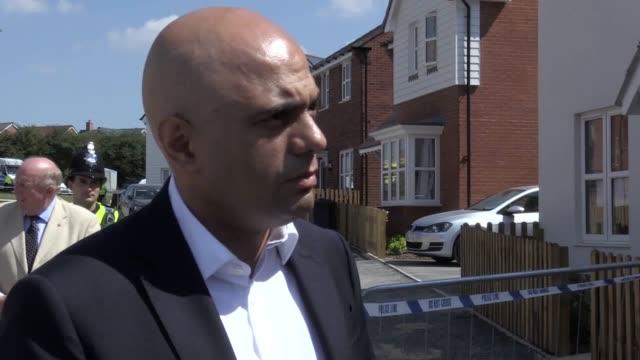 home secretary sajid javid visits muggleton road in amesbury wiltshire where counterterrorism officers are investigating after charlie rowley and... - sajid javid stock videos & royalty-free footage