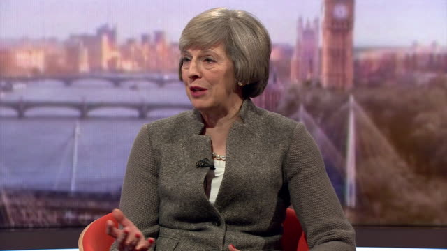 home secretary theresa may saying that controlling immigration is hard from inside or outside the eu - zoll und einwanderungskontrolle stock-videos und b-roll-filmmaterial