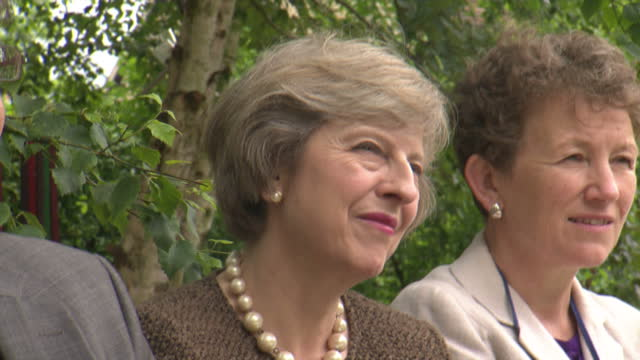 Home Secretary Theresa May who would become Prime Minister if she won the Tory party contest visited the John Watson School in Wheatley Shows Theresa...