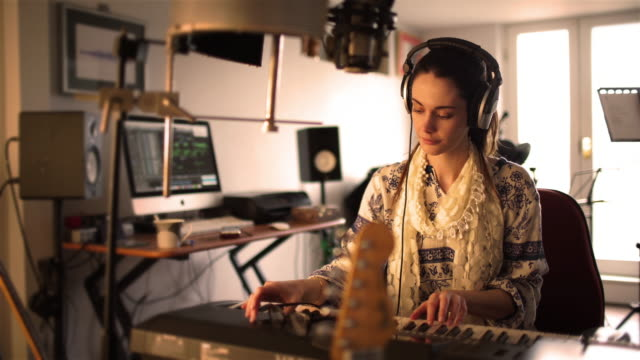 home studio hippy pianist woman - singer stock videos & royalty-free footage