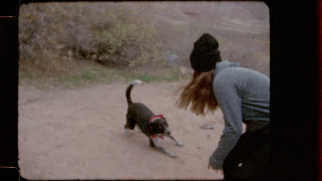 Home video film footage of excited dog running around campground.