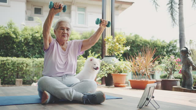home workout - senior women stock videos & royalty-free footage