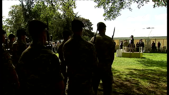 homecoming parade for soldiers from 2nd royal tank regiment; lt col marcus evans interview sot ends tall trees tilt down to wide shot of british... - stapleton stock videos & royalty-free footage