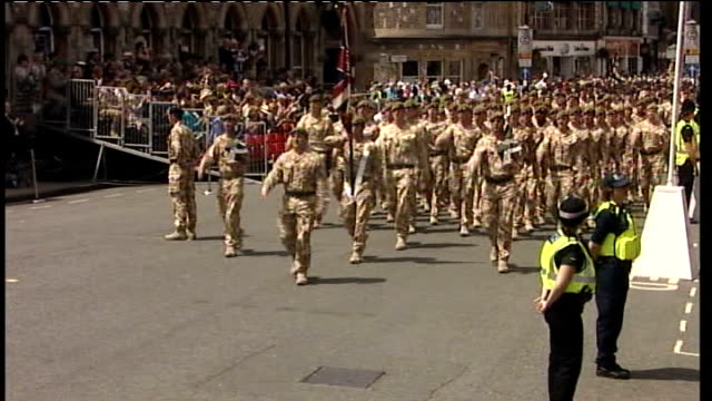 homecoming parade for soldiers in winchester england hampshire winchester ext * * military band music heard during the following shots sot * *... - 6 11 months stock videos & royalty-free footage