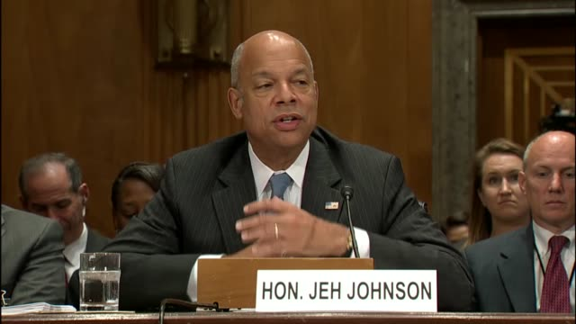 Homeland Security Secretary Jeh Johnson improvises an opening statement at a hearing with the Senate Homeland security and governmental affairs...