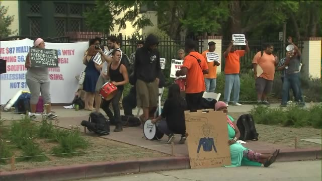 KTLA Homeless Activists Protest Outside Mayor Garcetti's Home Over Passed Ordinances on July 2 2015