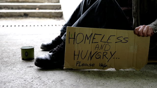 hd dolly: homeless and hungry - tramp stock videos & royalty-free footage