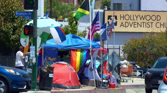 homeless and mental ill people living in tent camp during homelessness crisis and coronavirus covid-19 pandemic outbreak in los angeles, california, 4k - hopelessness stock videos & royalty-free footage