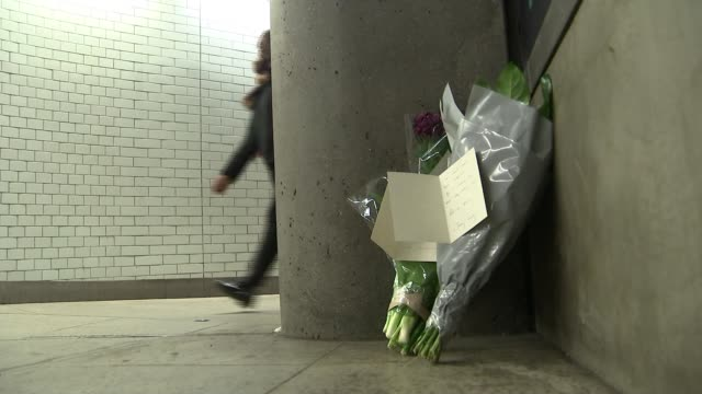 Homeless man found dead at Westminster station / Jeremy Corbyn sympathy card ENGLAND London Westminster Station INT Various shots of bunches of...