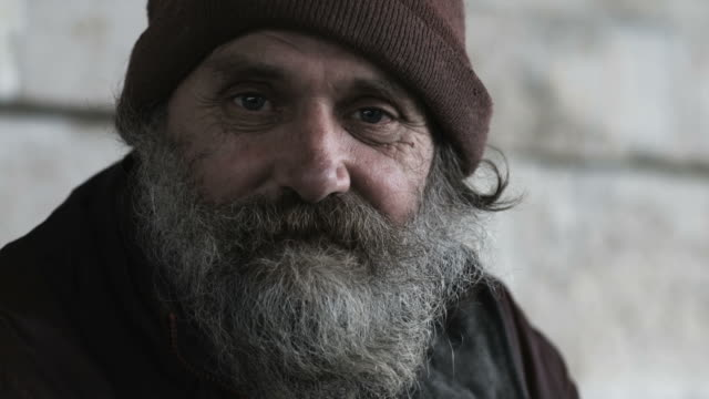 homeless man looking at the camera - homelessness stock videos & royalty-free footage