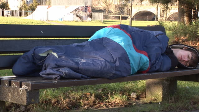 Homeless Man sleeping rough - Tripod
