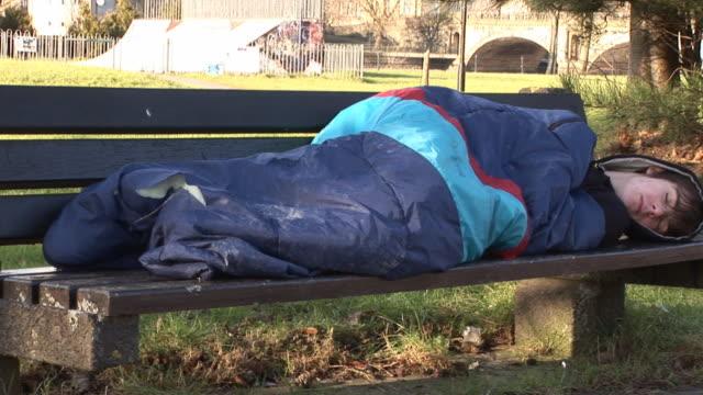 homeless man sleeping rough - tripod - homelessness stock videos and b-roll footage