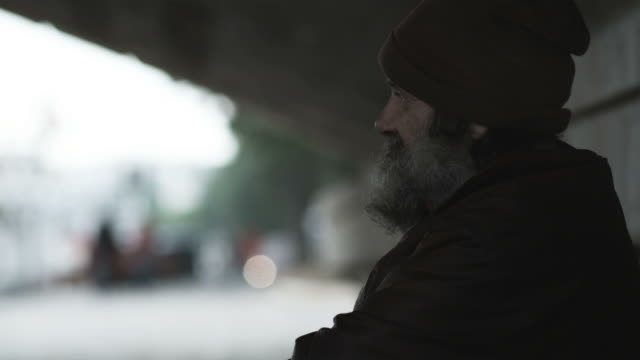 homeless man under a bridge - homelessness stock videos & royalty-free footage