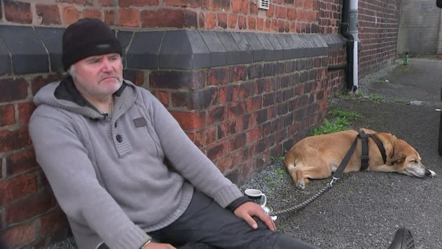 Homeless numbers in UK could rise to over half a million by 2041 ENGLAND Greater Manchester Bury EXT Various shots Derek Fraser with dog Kipper Derek...