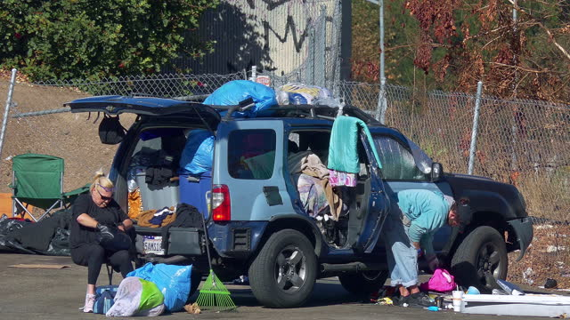 homeless people living in the car during homelessness crisis and coronavirus covid-19 pandemic outbreak in los angeles, california, 4k - hollywood california stock videos & royalty-free footage