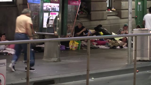 Homeless people who was forced to leave from Melbourne city centre during Australia Open back to Melbourne streets on January 24 2016 in Melbourne...