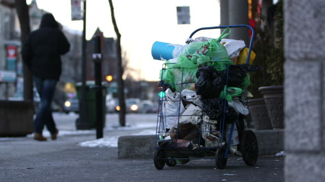 homeless shopping trolley cart - homelessness stock videos & royalty-free footage