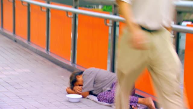 homeless woman sleeping - beggar stock videos & royalty-free footage