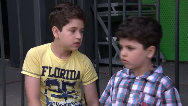 Children housed in converted shipping containers ENGLAND London Omid Mehdi interview SOT General viewS converted containers used as housing