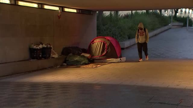 government unveils plan to eradicate rough sleeping; england: buckinghamshire: milton keynes: ext at night various of tent in underpass - sleeping stock videos & royalty-free footage