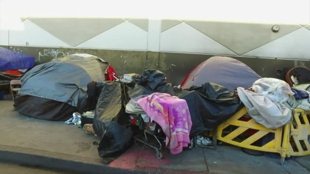 "homelessness on streets of los angeles during coronavirus pandemic - ""bbc news"" stock videos & royalty-free footage"