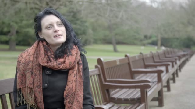 petition launched to encourage businesses to donate sanitary products to homeless women england ext various shots of sarah along and sitting on bench... - sitzbank stock-videos und b-roll-filmmaterial