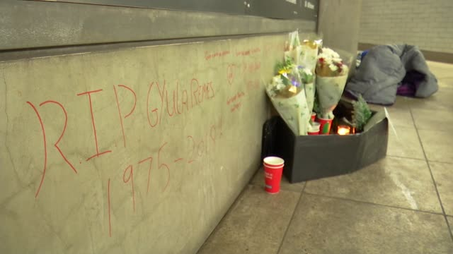 report says there has been a 24 per cent rise in deaths amongst the homeless in the last 5 years england london westminster int graffiti on wall and... - underpass stock videos & royalty-free footage