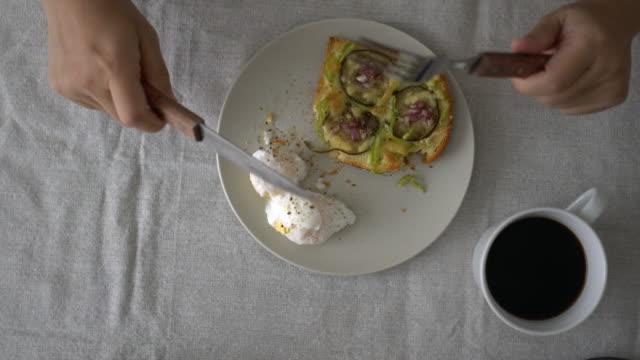 homemade breakfast: coffee and toast - aubergine stock videos & royalty-free footage
