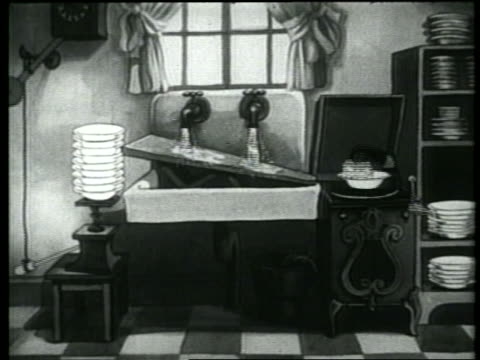 b/w 1937 animation homemade contraption washinng and drying stack of dishes - abwaschen stock-videos und b-roll-filmmaterial