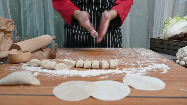 homemade cooking chinese meat ravioli, dumpling or wonton preparing - ダンプリング点の映像素材/bロール
