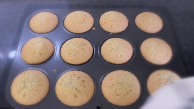 homemade cupcakes - baking tray stock videos & royalty-free footage