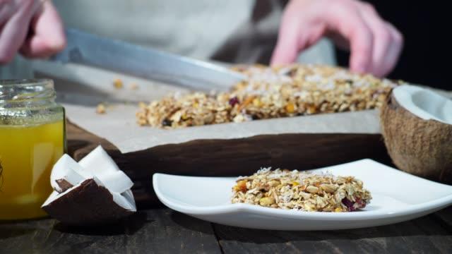 homemade granola bars - protein bar stock videos & royalty-free footage