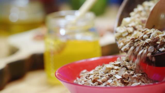 Homemade granola cooking
