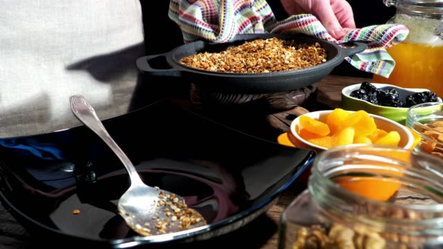 homemade granola preparing - oatmeal stock videos & royalty-free footage